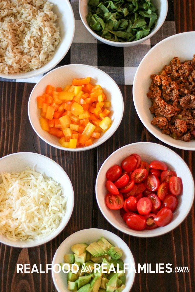easy weeknight meal homemade build your own burrito bowls